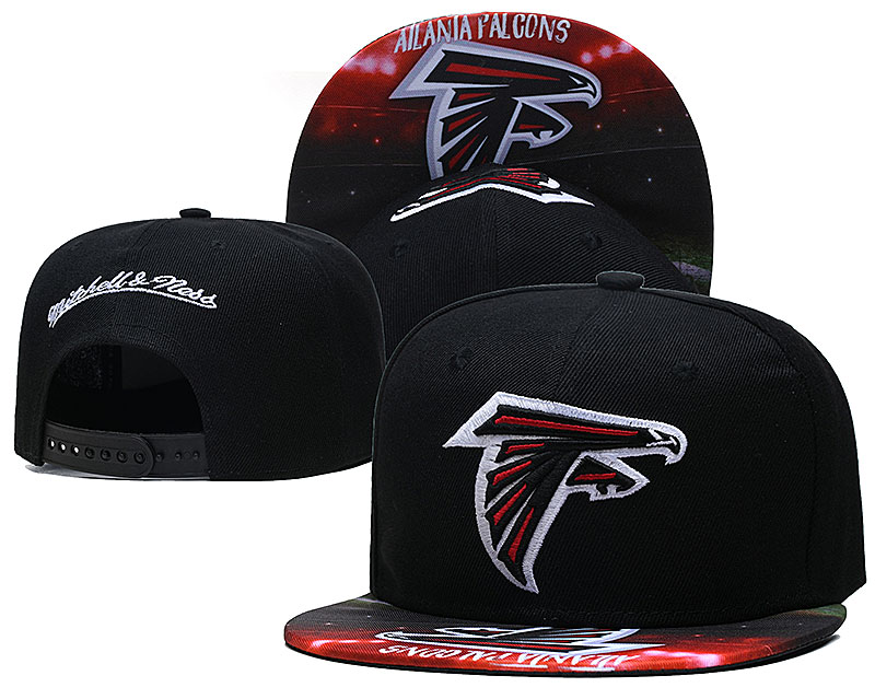 Falcons Team Logo Black Mitchell & Ness Adjustable Hat LH