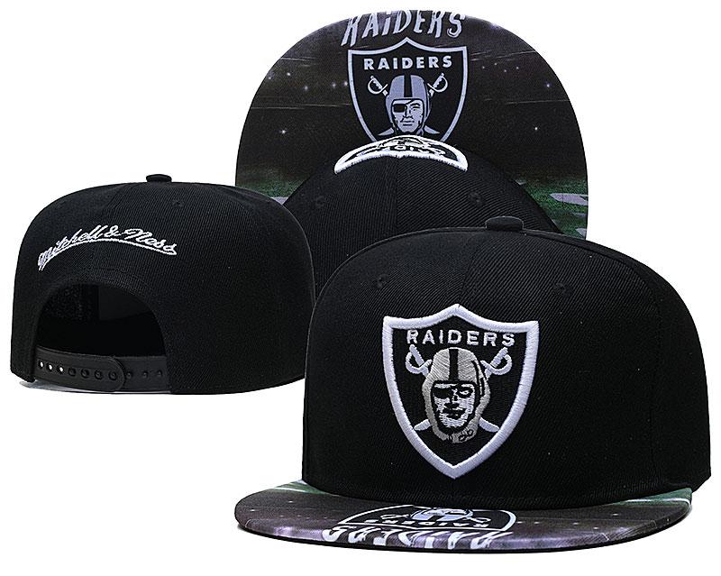 Raiders Team Logo Black Mitchell & Ness Adjustable Hat LH