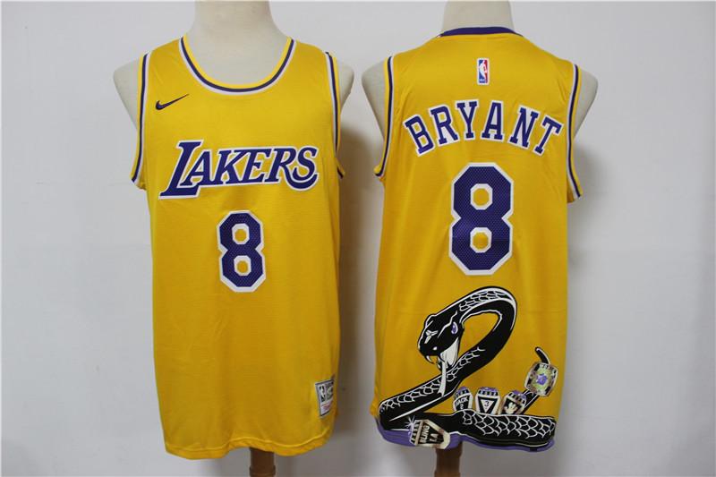 Lakers 8 Kobe Bryant Yellow Nike Swingman Fashion Jersey