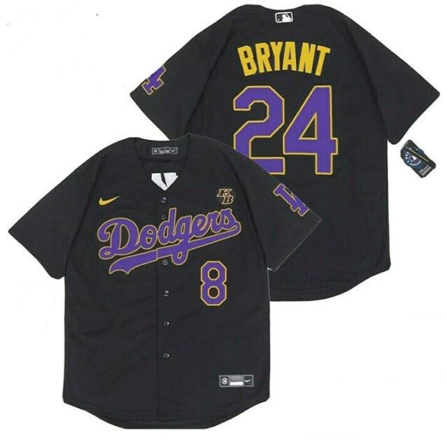 Dodgers 8 & 24 Kobe Bryant Black 2020 Nike Cool Base Jersey
