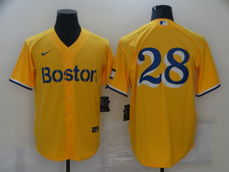 Red Sox 28 J.D. Martinez Gold Nike 2021 City Connect Replica Player Cool Base Jersey