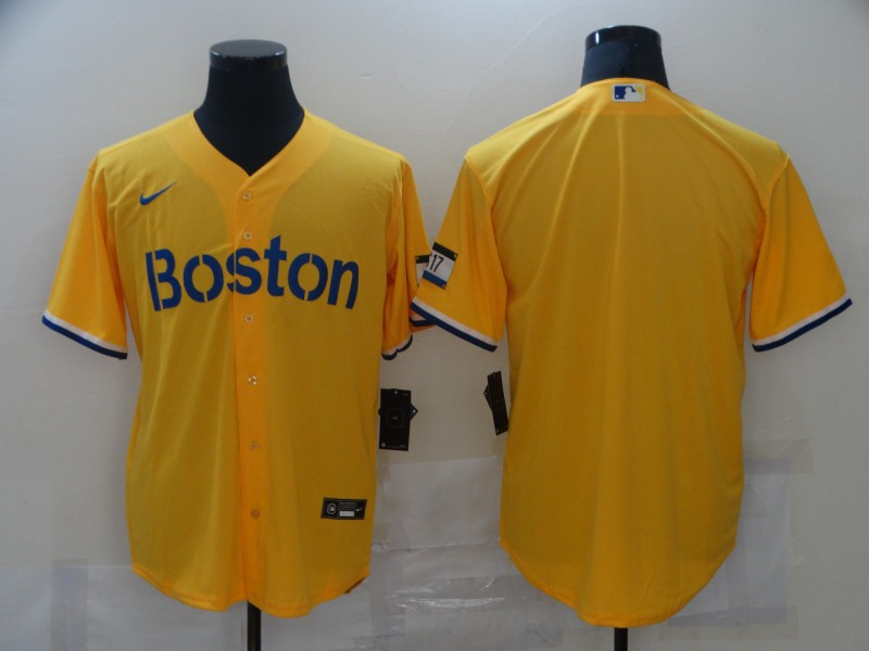 Red Sox Blank Gold Nike 2021 City Connect Replica Player Cool Base Jersey