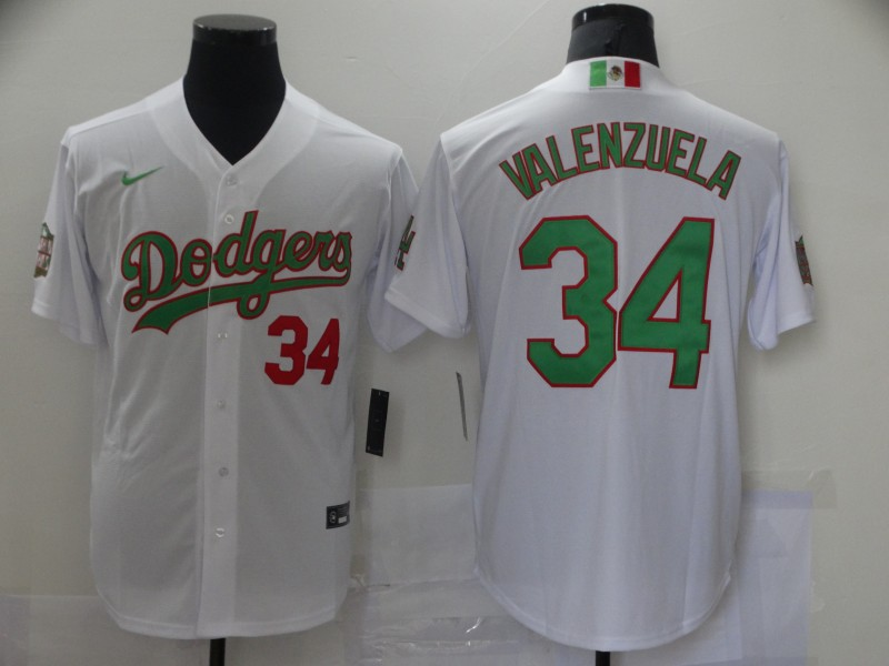 Dodgers 34 Fernando Valenzuela White World Series Nike Cool Base Jersey