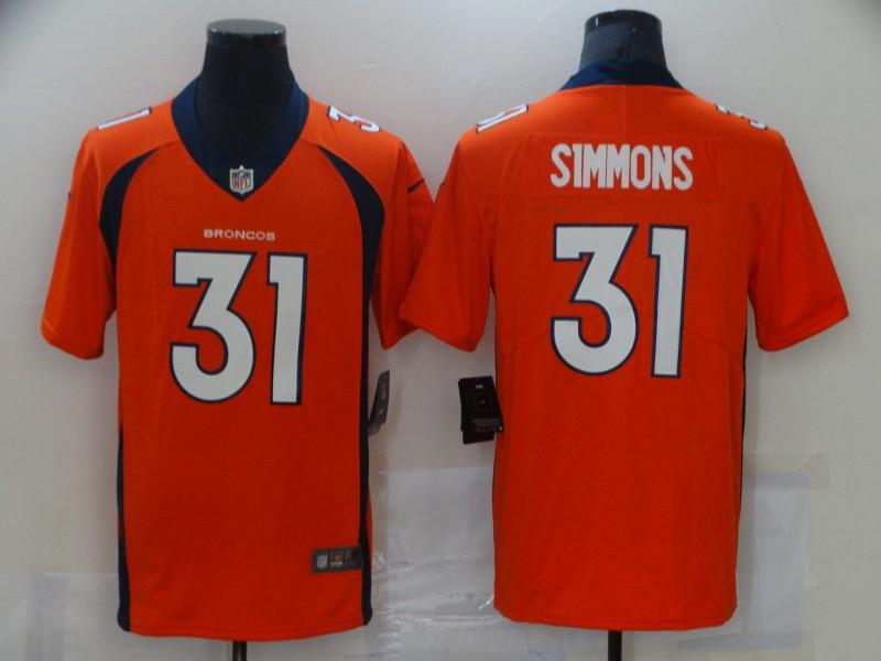 Nike Broncos 31 Justin Simmons Orange Vapor Untouchable Limited Jersey