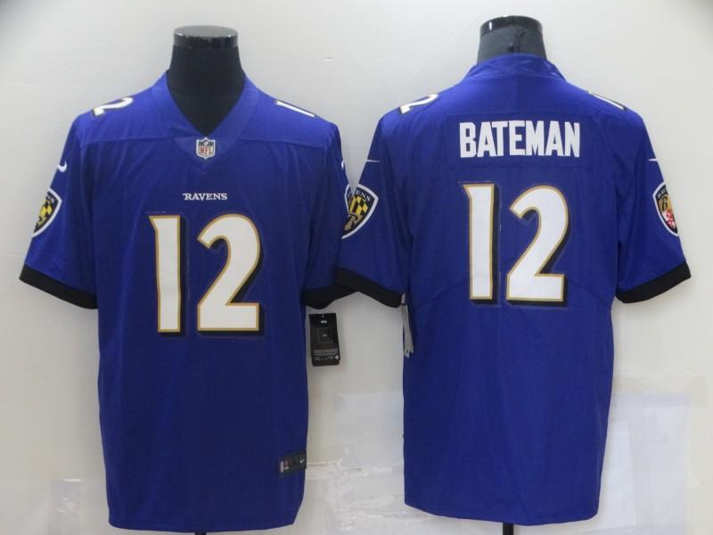 Nike Ravens 12 Rashod Bateman Purple 2021 NFL Draft Vapor Untouchable Limited Jersey