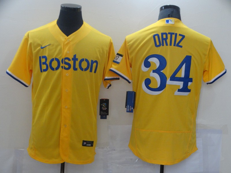 Red Sox 34 Gold Nike 2021 City Connect Replica Player Flexbase Jersey