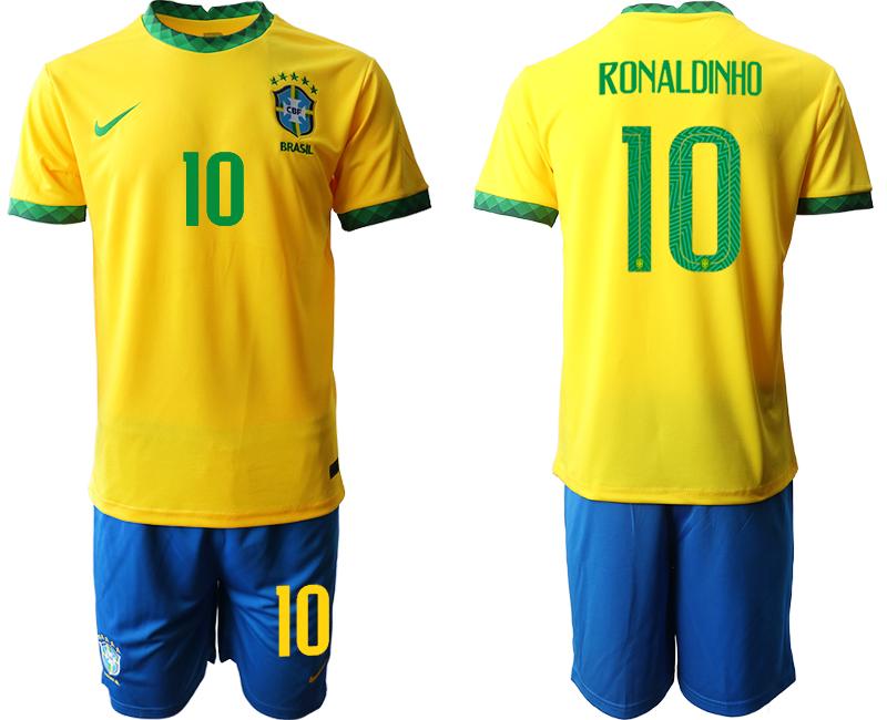 2020-21 Brazil 10 RONALDINHO Home Soccer Jersey
