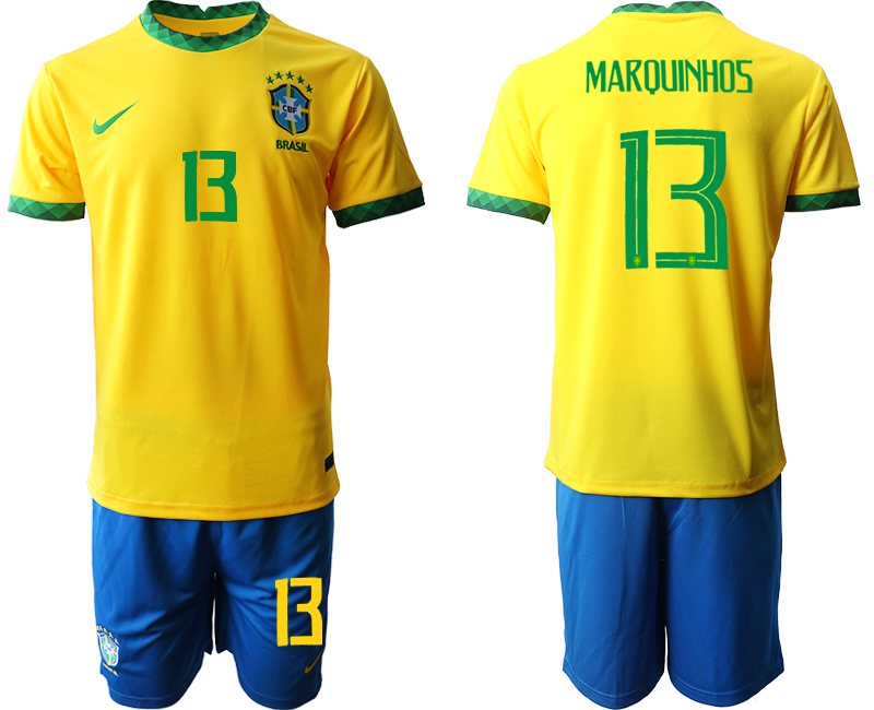 2020-21 Brazil 13 MARQUINHOS Home Soccer Jersey