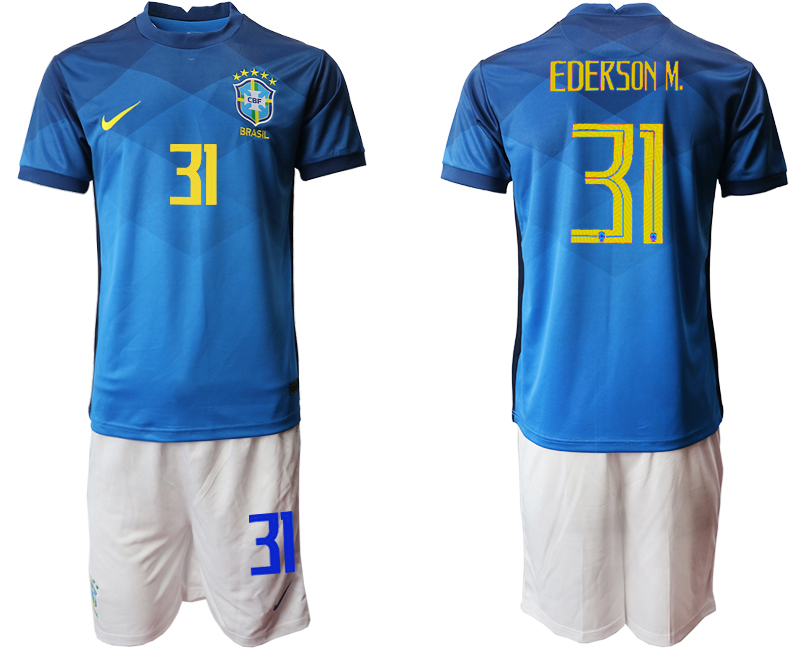 2020-21 Brazil 31 EDERSON M. Away Soccer Jersey