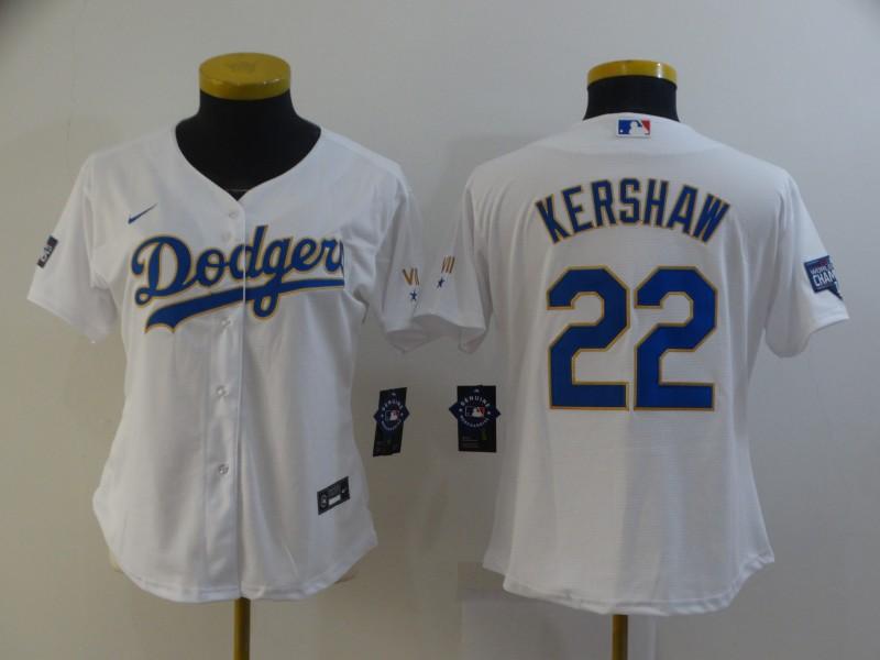 Dodgers 22 Clayton Kershaw White Women Nike 2021 Gold Program Cool Base Jersey