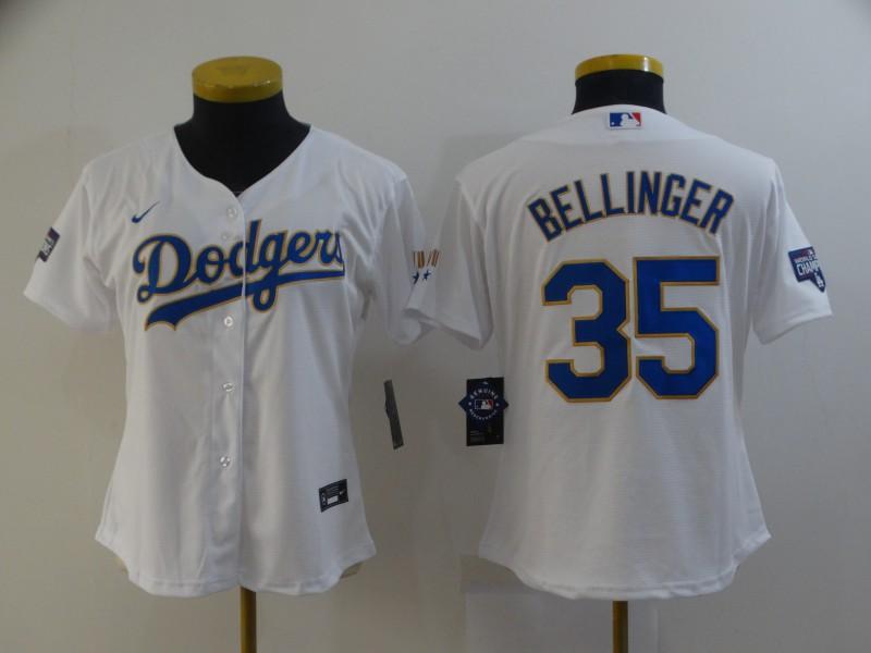Dodgers 35 Cody Bellinger White Women Nike 2021 Gold Program Cool Base Jersey