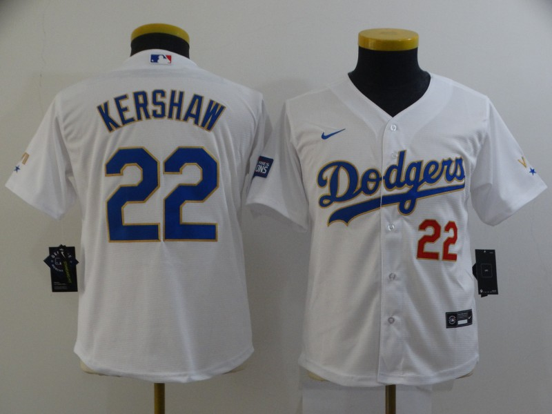Dodgers 22 Clayton Kershaw White Youth Nike 2021 Gold Program Cool Base Jersey