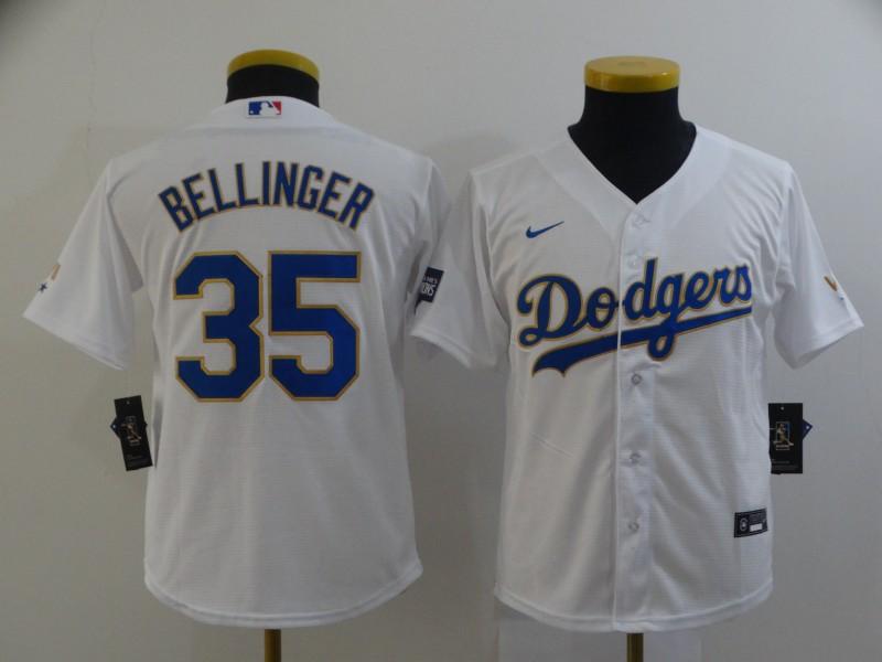 Dodgers 35 Cody Bellinger White Youth Nike 2021 Gold Program Cool Base Jersey