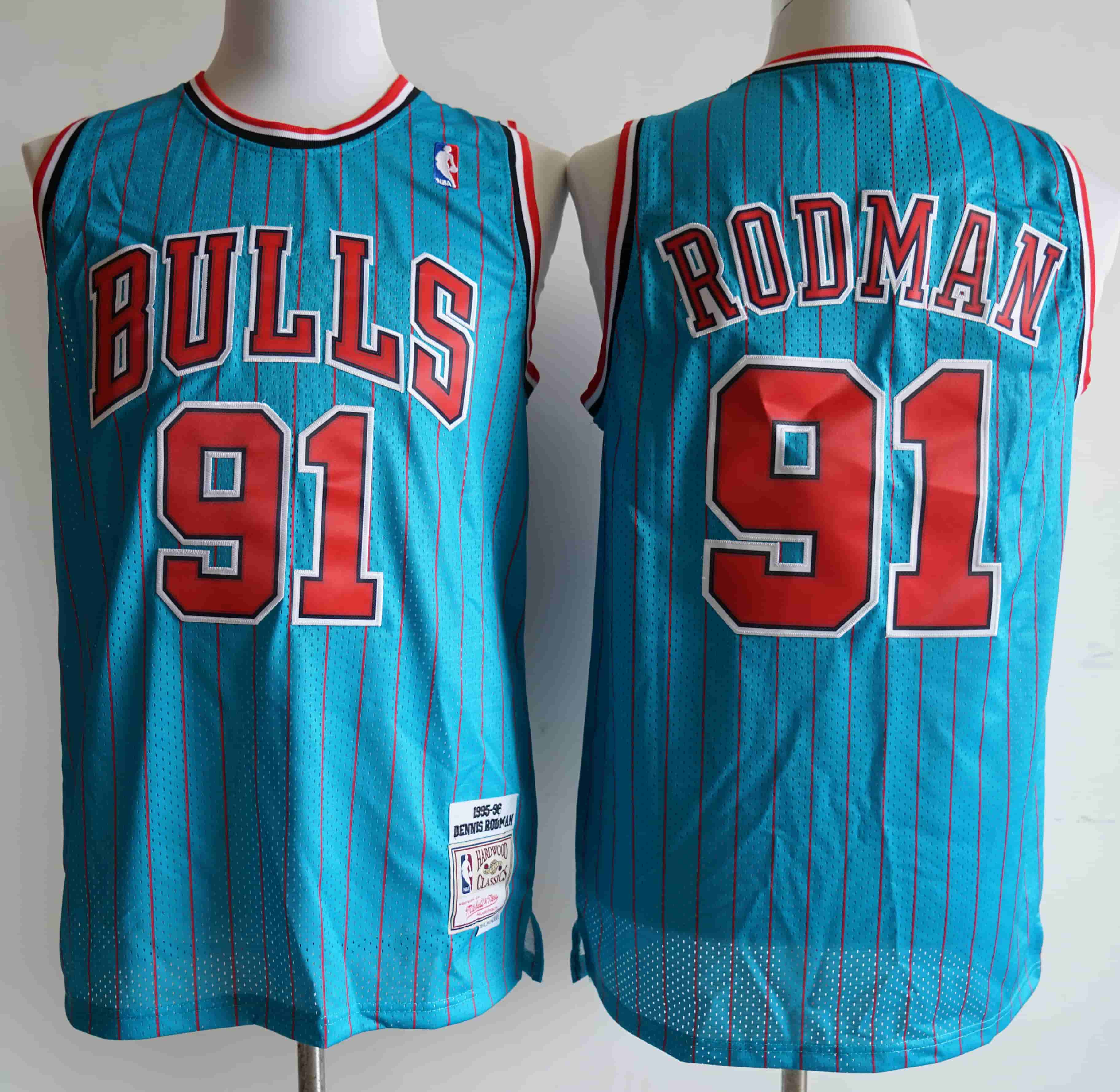Bulls 91 Dennis Rodman Blue 1995-96 Hardwood Classics Swingman Jersey