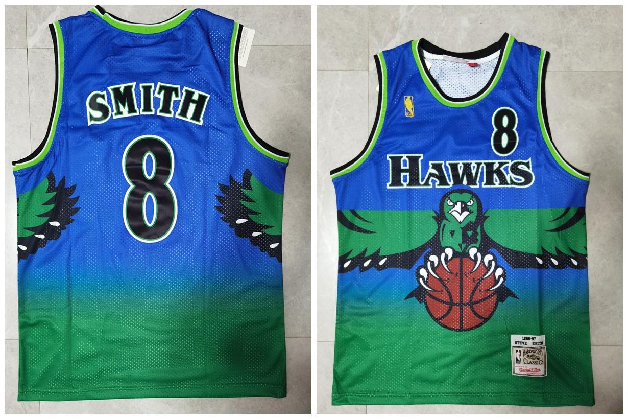 Hawks 8 Steve Smith Green 1996-97 Hardwood Classics Jersey
