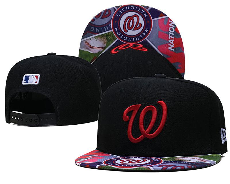 Nationals Team Logos Black Adjustable Hat LH
