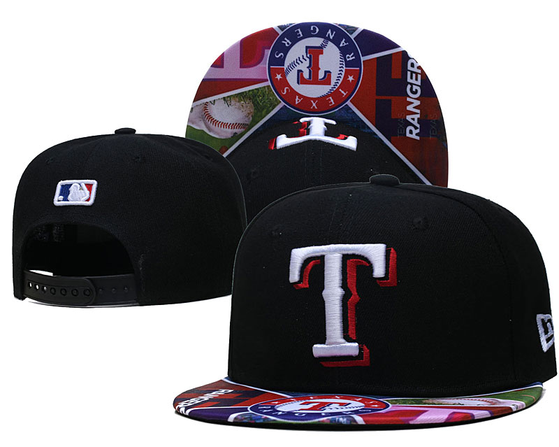 Rangers Team Logos Black Adjustable Hat LH