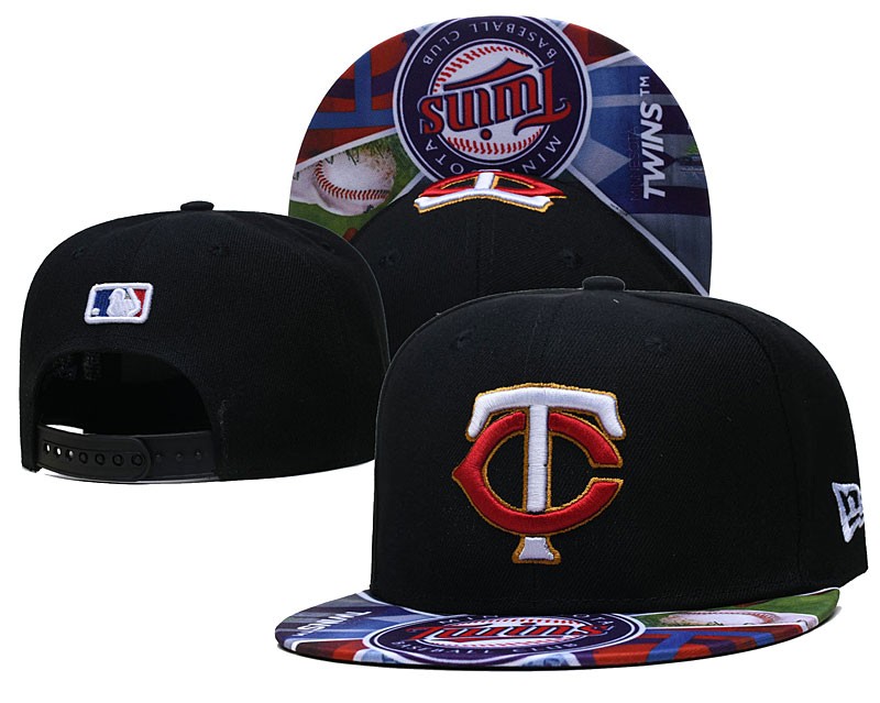 Twins Team Logos Black Adjustable Hat LH