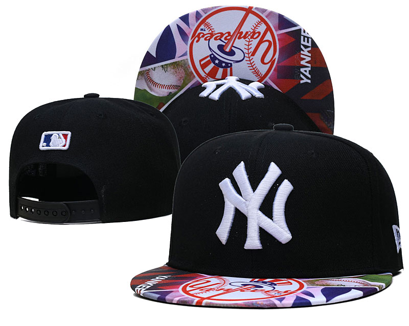 Yankees Team Logos Black Adjustable Hat LH