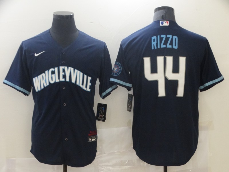 Cubs 44 Wrigleyville Rizzo Navy 2021 City Connect Cool Base Jersey