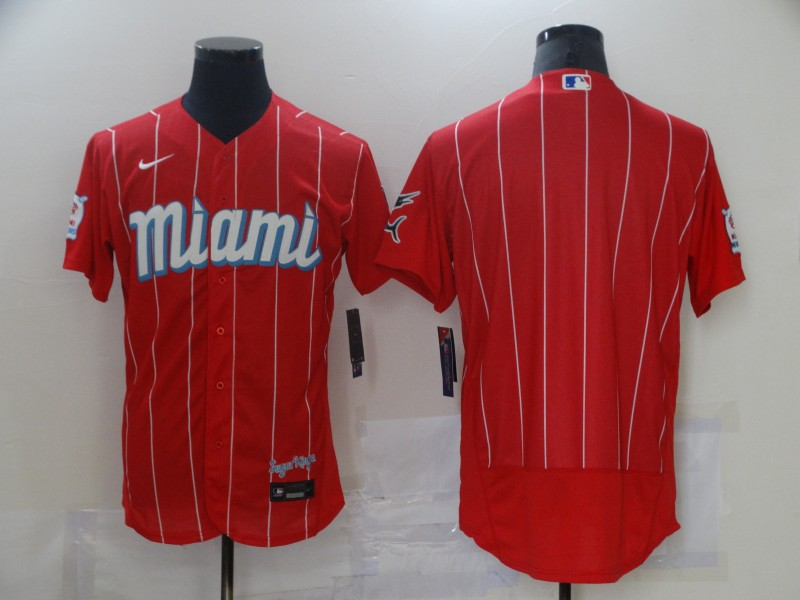 Marlins Blank Red 2021 City Connect Flexbase Jersey