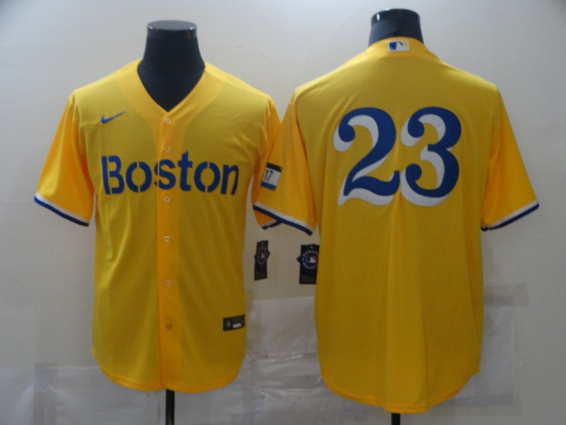 Red Sox 23 Gold Nike 2021 City Connect Replica Player Cool Base Jersey