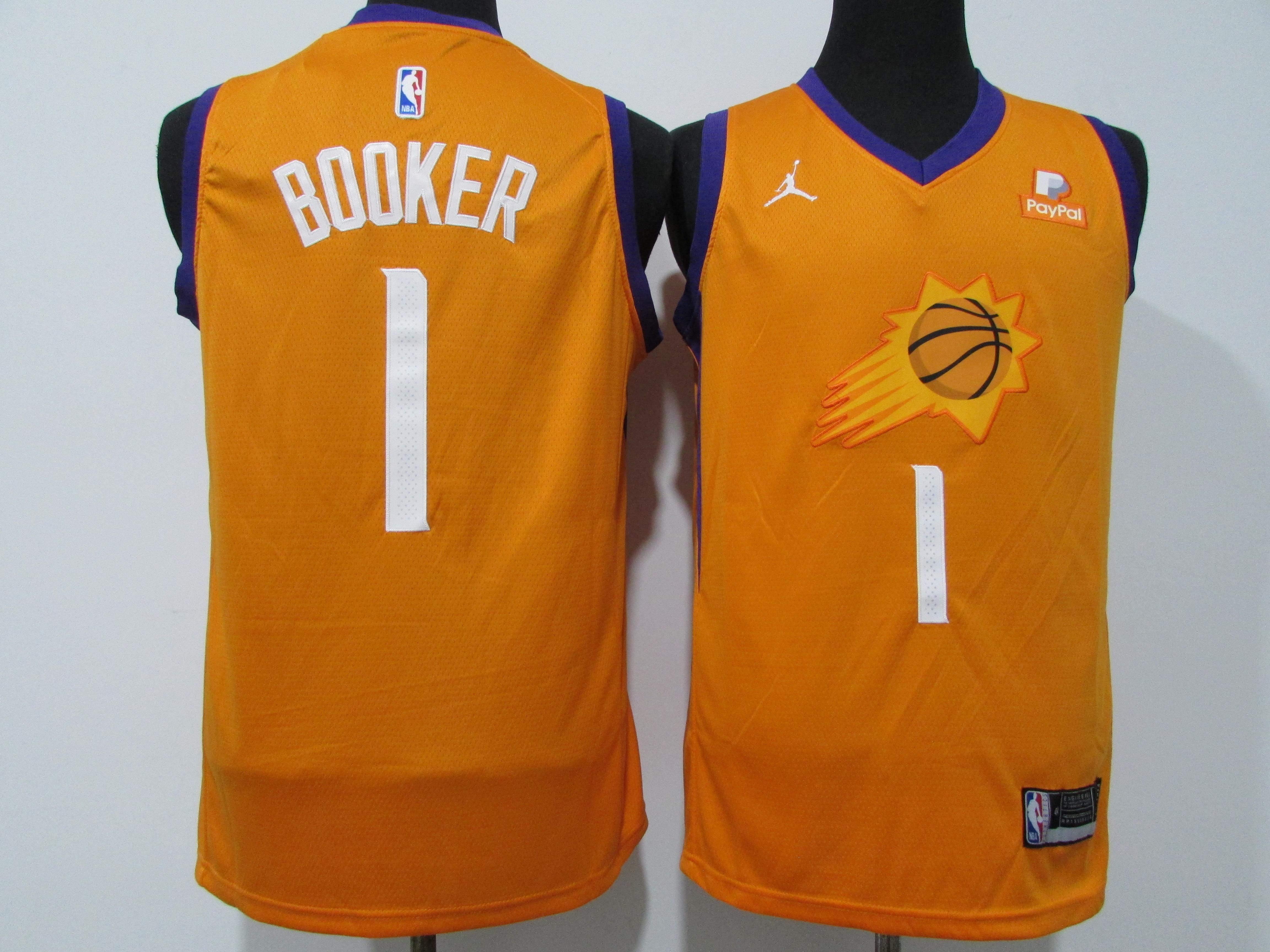 Suns 1 Devin Booker Orange 2020-21 City Edition Swingman jersey