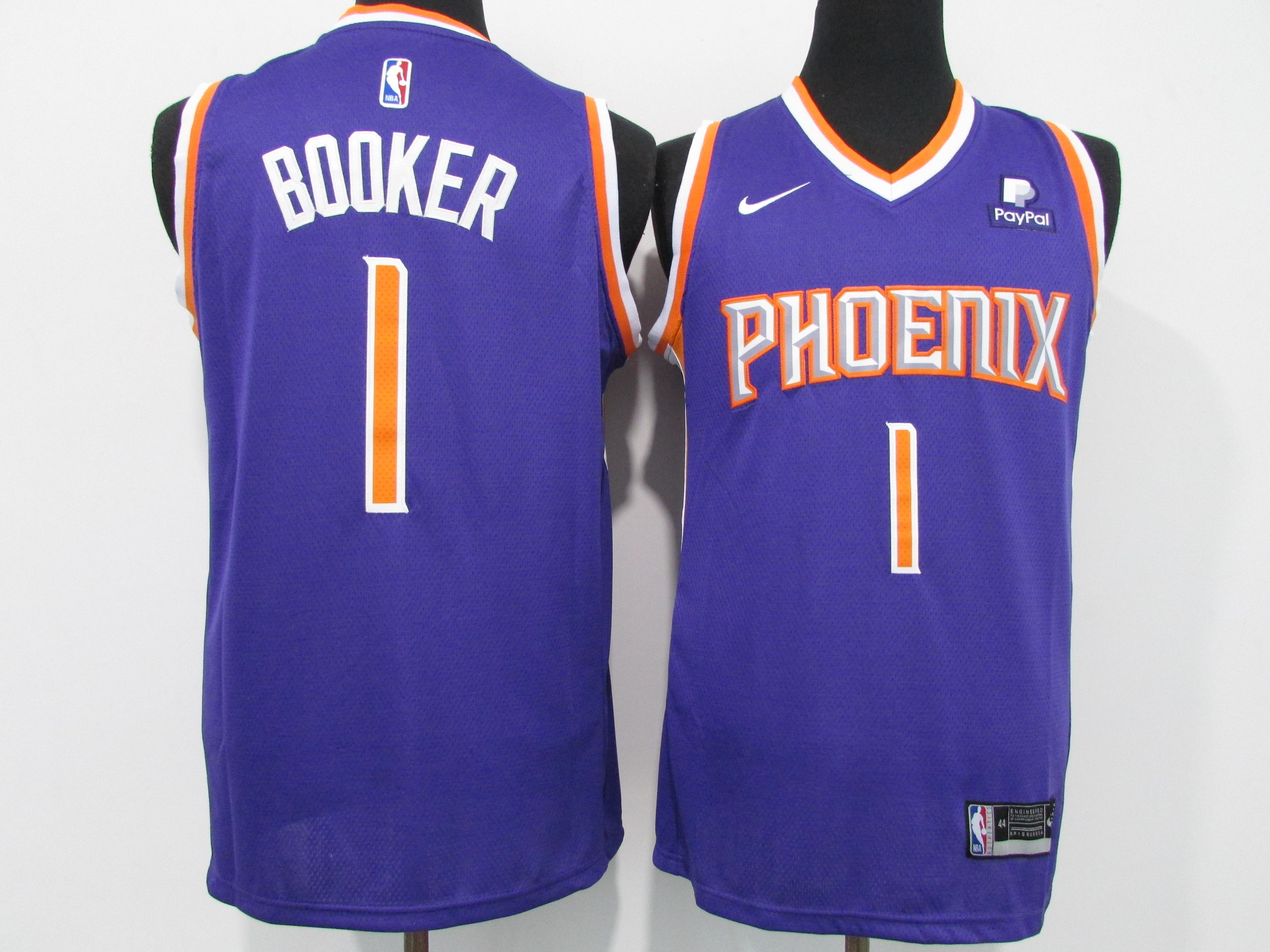 Suns 1 Devin Booker Purple Nike 2020-21 City Edition Swingman jersey