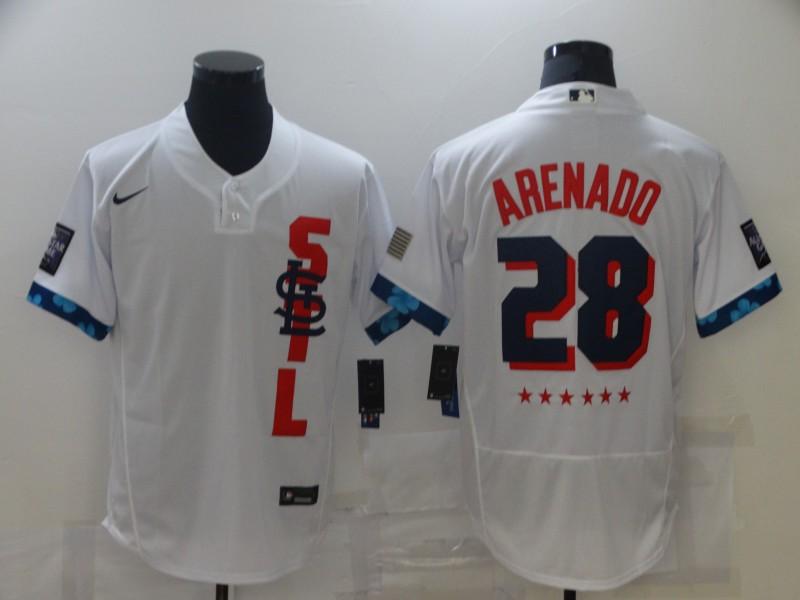 Cardinals 28 Nolan Arenado White Nike 2021 MLB All-Star Flexbase Jersey