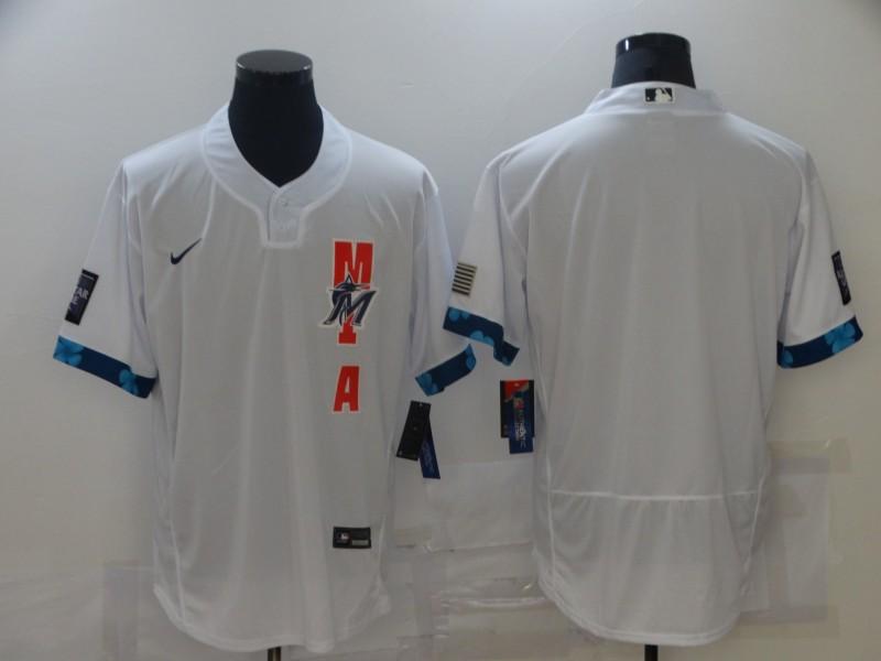 Marlins Blank White Nike 2021 MLB All-Star Flexbase Jersey