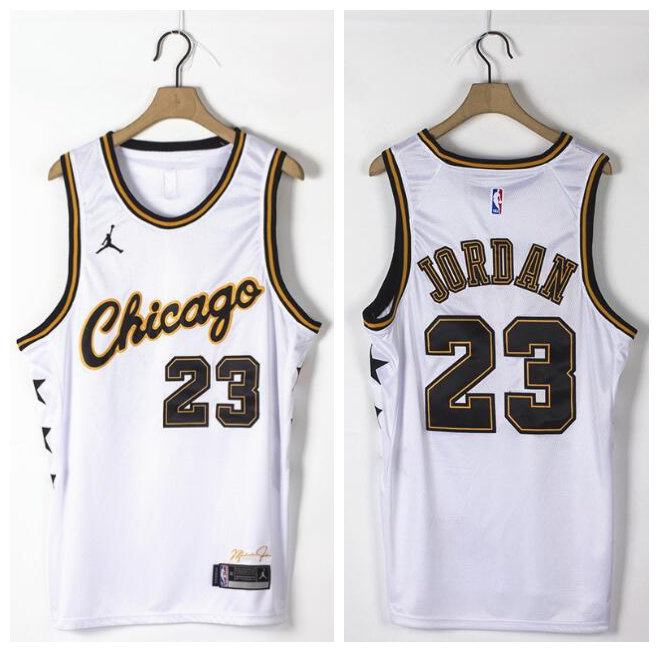 Bulls 23 Michael Jordan White Commemorative Edition Jordan Brand Swingman Jersey