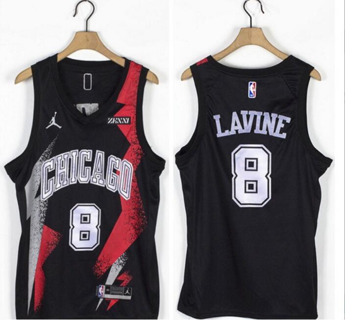 Bulls 8 Zach LaVine Black Jordan Brand Swingman Jersey