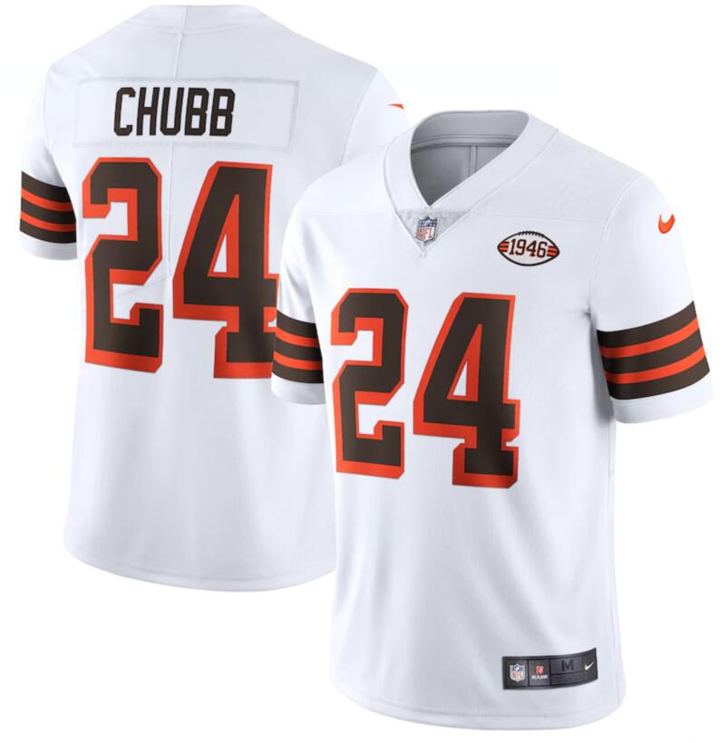 Nike Browns 24 Nick Chubb White 1946 Collection Alternate Vapor Limited Jersey