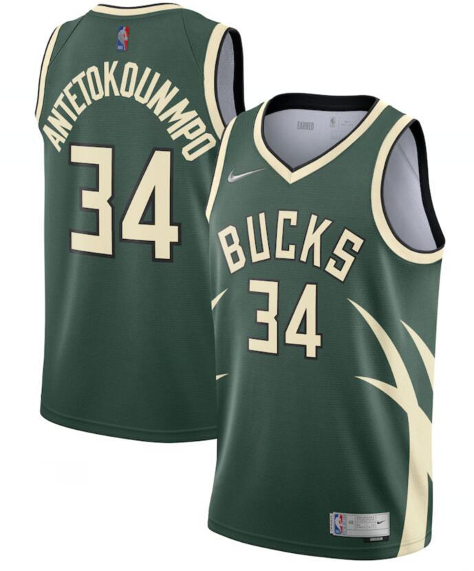 Bucks 34 Giannis Antetokounmpo Green Nike Earned Edition Swingman Jersey