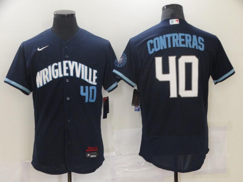 Cubs 40 Willson Contreras Navy 2021 City Connect Flexbase Jersey