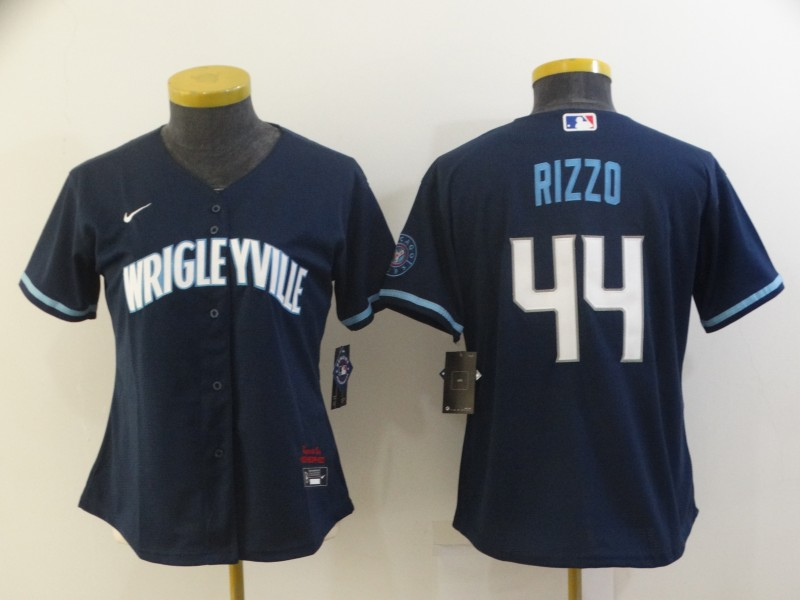 Cubs 44 Wrigleyville Rizzo Navy Women 2021 City Connect Cool Base Jersey