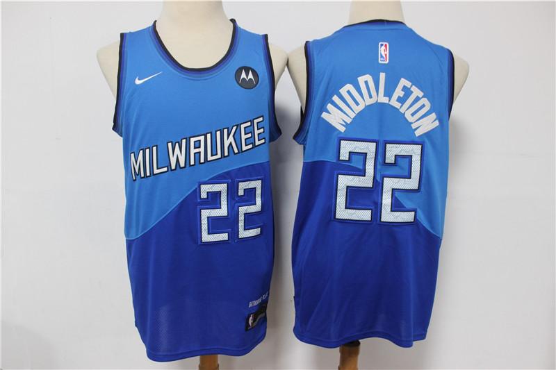 Bucks 22 Khris Middleton Blue 2021 City Edition Swingman Jersey