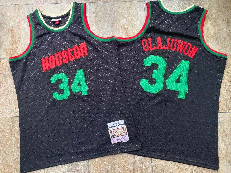Rockets 34 Hakeem Olajuwon Black 1993-94 Hardwood Classics Jersey