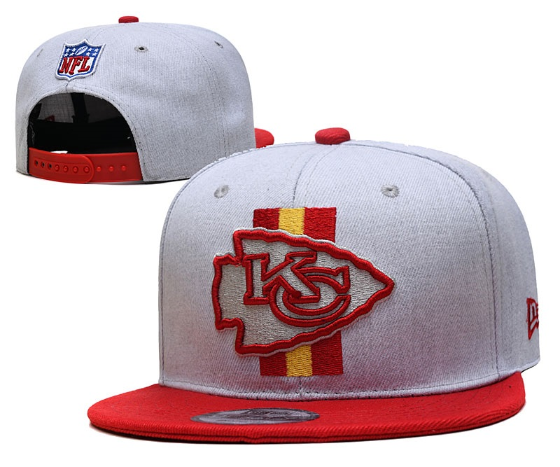 Chiefs Team Logo Gray Red Adjustable Hat YD