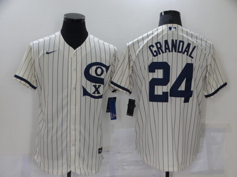 White Sox 24 Yasmani Grandal Cream Nike 2021 Field Of Dreams Flexbase Jersey