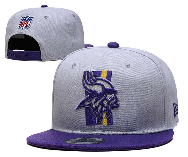 Vikings Team Logo Gray Purple Adjustable Hat YD
