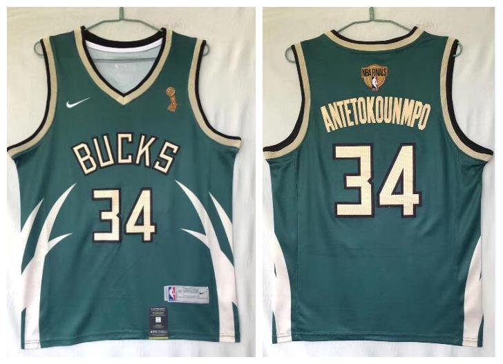 Bucks 34 Giannis Antetokounmpo Green Nike 2021 Earned Edition NBA Finals Champions Swingman Jersey
