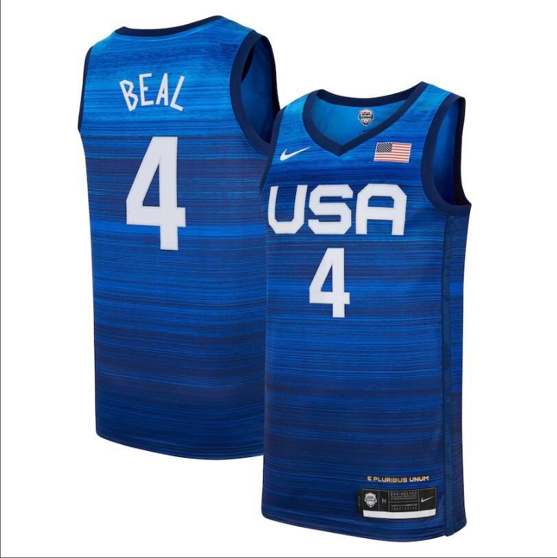 Team USA 4 Beal Navy 2021 Olympics Basketball Swingman Jersey