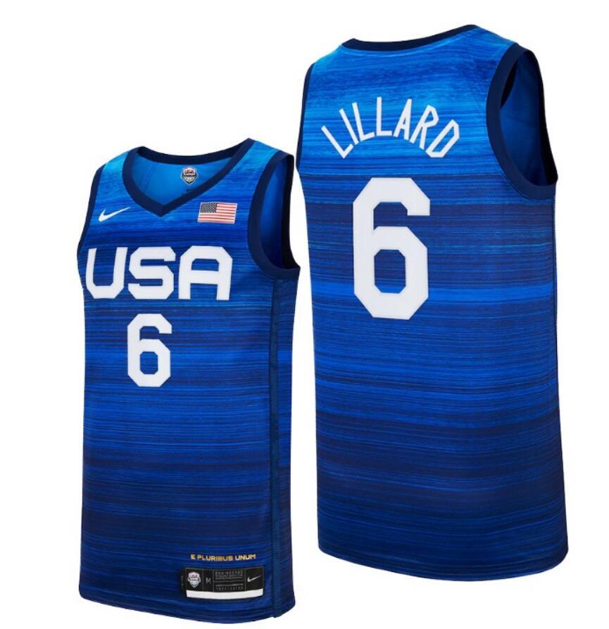 Team USA 6 Lillard Navy 2021 Olympics Basketball Swingman Jersey