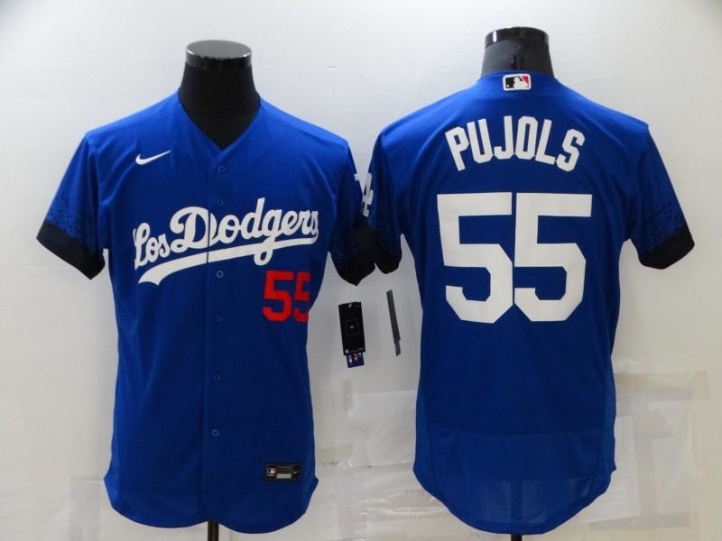 Dodgers 55 Albert Pujols Royal 2021 City Connect Flexbase Jersey