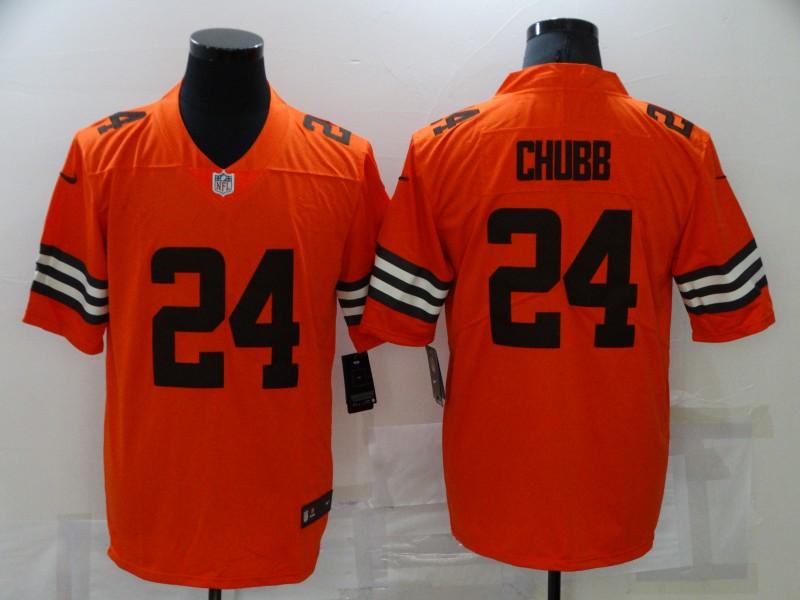 Nike Browns 24 Nick Chubb Orange Inverted Legend Limited Jersey
