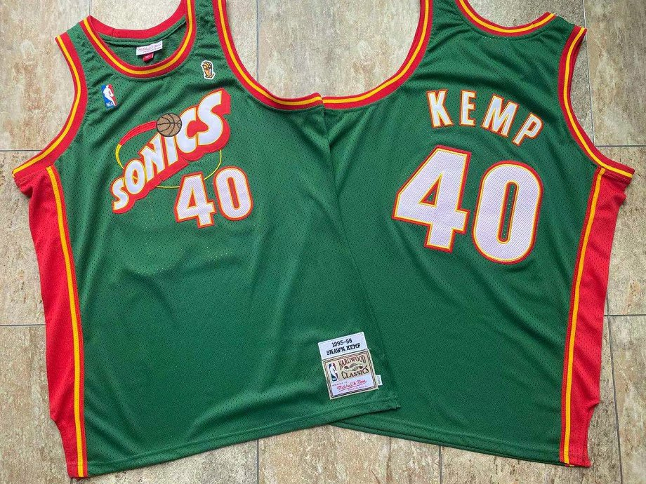 Supersonics 40 Shawn Kemp Green 1995-96 Hardwood Classics Jersey