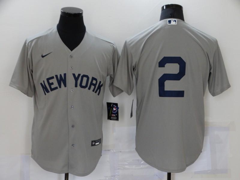 Yankees 2 Derek Jeter Gray Nike 2021 Field Of Dreams Cool Base Jersey