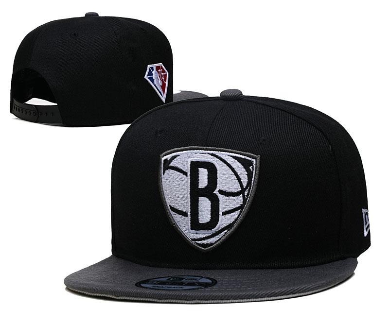 Nets Team Logo New Era Black 2021 NBA Draft Adjustable Hat YD