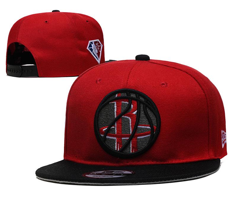 Rockets Team Logo New Era Red Black 2021 NBA Draft Adjustable Hat YD